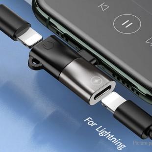 جک تبدیل لایتننیگ به صدا و شارژ ریمکس Remax Audio lightning jack Splitter RL-LA09i