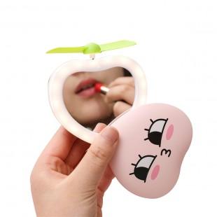 آینه فندار و چراغدار طرح هلو Peach design portable mini fan, mirror and LED lamp