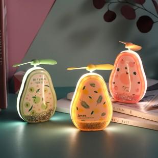 آینه فندار و چراغدار طرح آووکادو Avocado makeup mirror fan summer cute and fresh mini portable fan