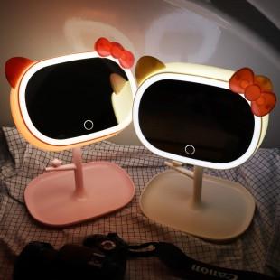آینه چراغ دار رو میزی طرح هلو کیتی مدل AH3212-2
