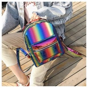 کوله پشتی هولوگرامی Rainbow metallic backpack