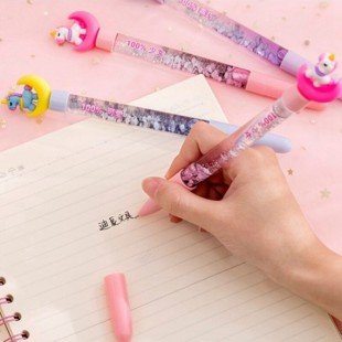 خودکار ژلی گلیتری اسب تک شاخ Lovely moon unicorn gel liquid quicksand pen