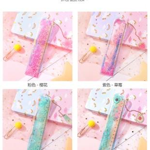 خطکش آکواریومی Cute flower liquid glitter ruler