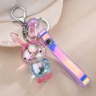 جاسوئیچی اکریلیک خرگوش با بند هولوگرامی Cute acrylic rabbit keychain