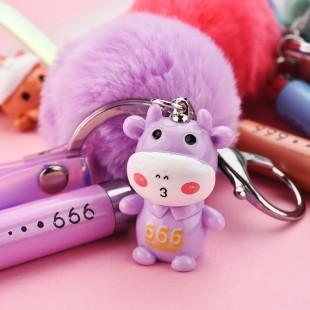 جاسوئیچی طرح گاو همراه با خز Lovely cow with fur keychain