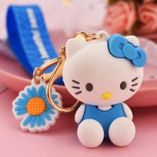 جاسوئیچی طرح هلوکیتی همراه با گل Hello kitty with daisy flower keychain