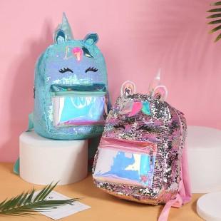 کوله پشتی پولکی اسب تک شاخ با جیب هولوگرامی Mermaid tail unicorn backpack with hologram pocket