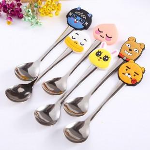 قاشق با طرح حیوانات کارتونی New cute innovative cartoon stainless steel cutlery small spoon