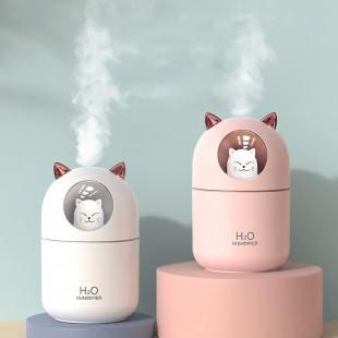 دستگاه بخور طرح گربه H2O A205 cute cat air humidifier with LED lamp