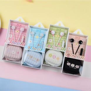 هندزفری طرح گل و حیوانات Earsir E-233 cute flower and pet design wired earphones with storage bag