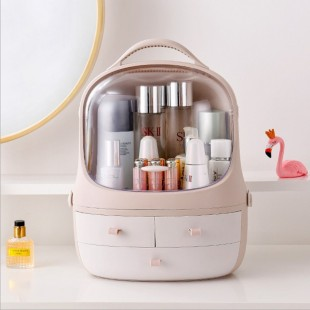 باکس حرفهای لوازم آرایشی کشودار Acrylic desktop cosmetic storage box with three drawer