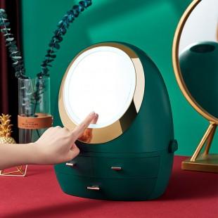 باکس حرفهای لوازم آرایشی آینهدار Light luxury desktop cosmetic box with mirror and LED touch