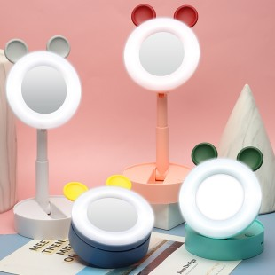 رینگ لایت و آینه رومیزی تاشو طرح خرس