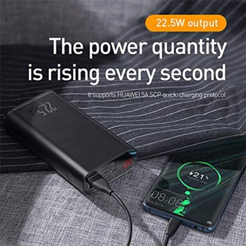 پاوربانک 20000 میلی آمپر بیسوس مدل Baseus Starlight Digital Display Quick Charg Power Bank 20000mAh 22.5W PPXC-01