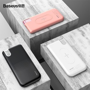 پاور بانک 10000 میلی آمپر بیسوس مدل Baseus thin version wireless charge power bank 10000 mAh PPALL-QY02