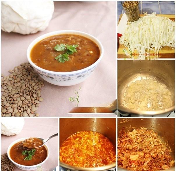 سوپ عدس سبز و کلم ( رژیمی)