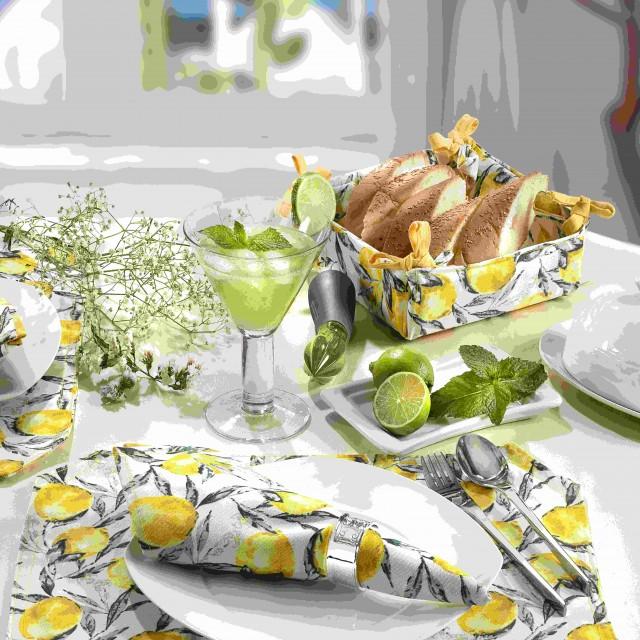 ست عروس اشپزخانه کتان،طرح لیمو