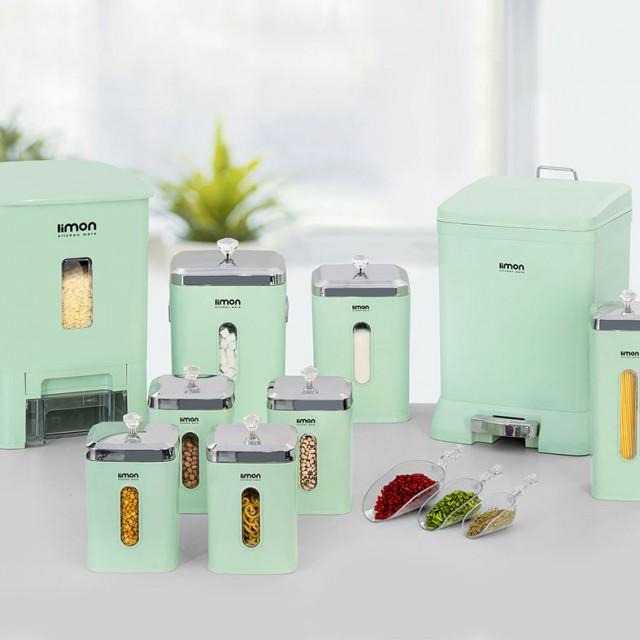 سرویس آشپزخانه 9 پارچه لیمون مدل چهار گوش درب شفاف