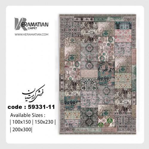 فرش ماشینی ابریشمی کرامتیان مدل پتینه  کد 59332_14