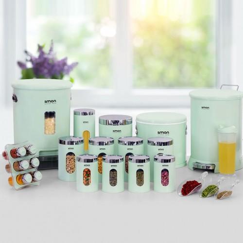 سرویس آشپزخانه 21 پارچه لیمون مدل گرد درب شفاف