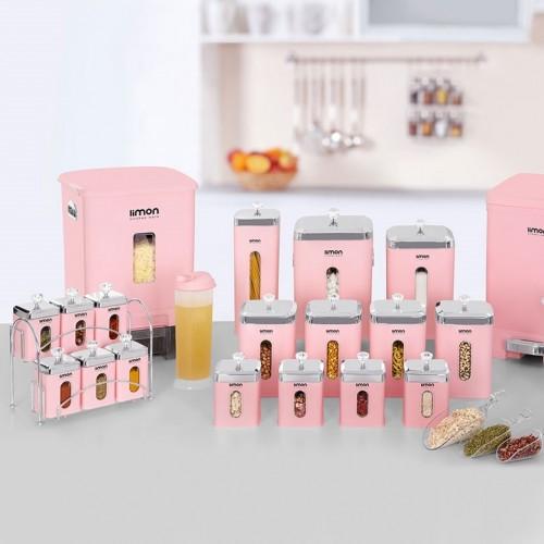 سرویس آشپزخانه 21 پارچه لیمون مدل چهار گوش درب شفاف