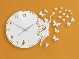 ساعت دیواری فانتزی فرشته نگیندار سفید