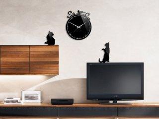 ساعت دیواری گربه نگین دار 2