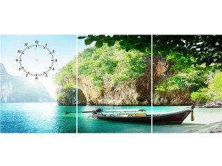 ساعت دیواری تابلوای سه تکه مدل قایق