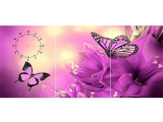 ساعت دیواری تابلوای سه تکه مدل پروانه