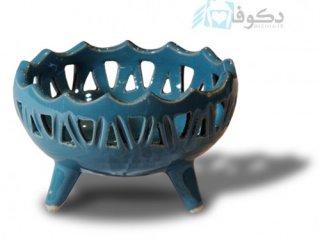 کاسه سفالی آبی رنگ با سه پایه