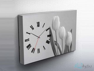 ساعت دیواری تابلوای طرح لاله سیاه سفید