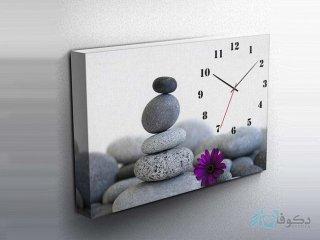 ساعت دیواری تابلوای طرح سنگ رنگی