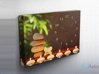ساعت دیواری تابلوای طرح سنگ و شمع