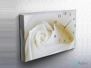 ساعت دیواری تابلوای طرح رز سفید