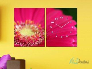 ساعت دیواری تابلو ای دو تکه طرح میخک