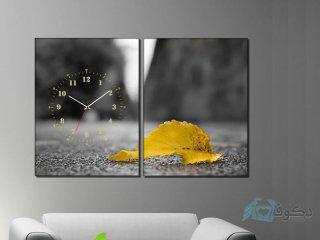 ساعت دیواری تابلو ای دو تکه طرح برگ