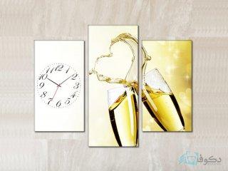 ساعت دیواری تابلو ای سه تکه طرح عشق