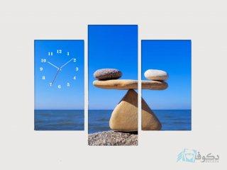 ساعت دیواری تابلو ای سه تکه ای طرح دریا