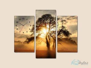 ساعت دیواری تابلو ای سه تکه ای طرح غروب آفتاب