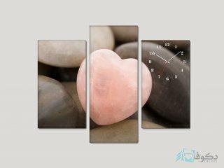 ساعت دیواری تابلو ای سه تکه ای طرح قلب