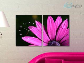 ساعت دیواری تابلو ای دو تکه طرح گل صورتی