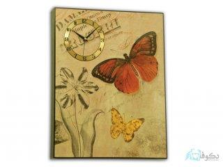 ساعت دیواری تابلوای طرح پروانه 01