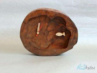 ساعت رومیزی چوبی ماهی