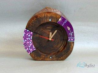 ساعت رومیزی چوبی بنفشه