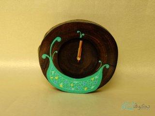 ساعت رومیزی چوبی گل وبرگ