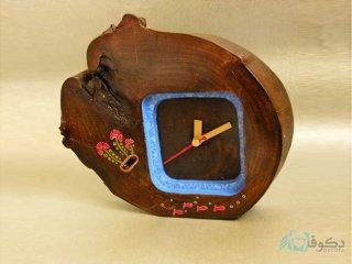 ساعت رومیزی چوبی شمعدونی