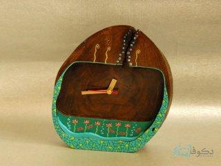 ساعت رومیزی چوبی خانه سبز
