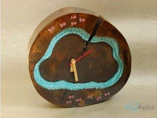 ساعت رومیزی چوبی ماهی قرمزا