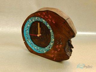 ساعت رومیزی چوبی ماهیا