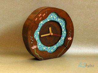 ساعت رومیزی چوبی نیلوفرانه